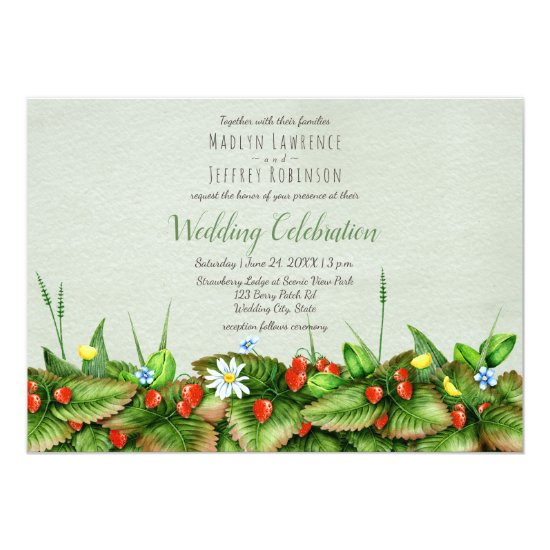 Strawberry meadow wild greenery country wedding card