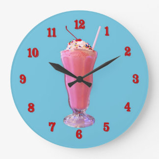 Strawberry Milkshake Large Clock