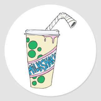 strawberry milkshake round stickers
