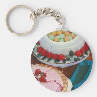 strawberry & mint basic round button keychain