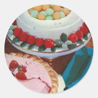 strawberry & mint classic round sticker