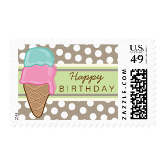 Strawberry & Mint Ice Cream Birthday Party Stamps