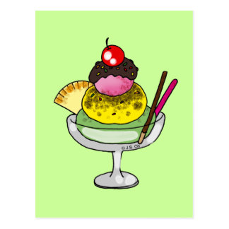 Strawberry & Mint Ice Cream Postcard