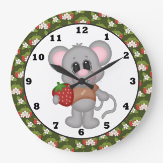 Strawberry Mouse Kitchen Cartoon Wall Clock
