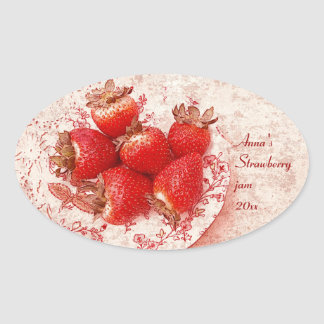 strawberry - old countrry style jam canning label