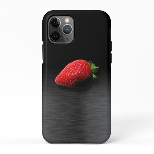 Strawberry on Black & Silver Metallic iPhone 11 Pro Case