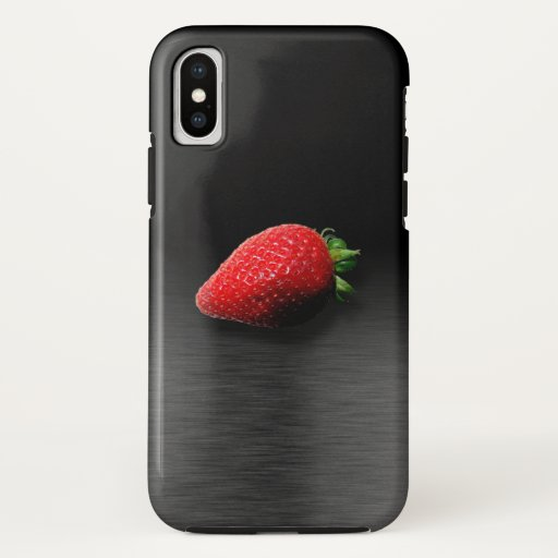 Strawberry on Black & Silver Metallic iPhone XS Case