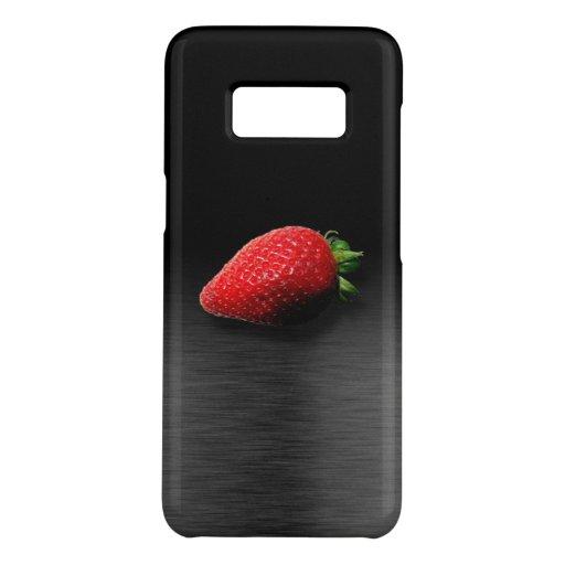 Strawberry on Black & Silver Metallic Case-Mate Samsung Galaxy S8 Case