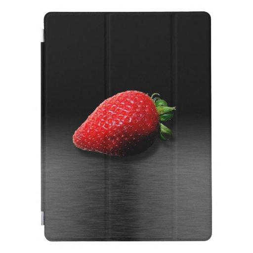 Strawberry on Black & Silver Metallic iPad Pro Cover