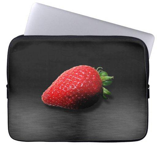 Strawberry on Black & Silver Metallic Laptop Sleeve