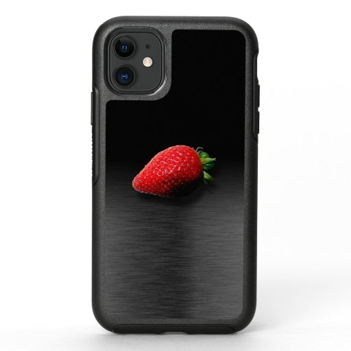 Strawberry on Black & Silver Metallic OtterBox Symmetry iPhone 11 Case