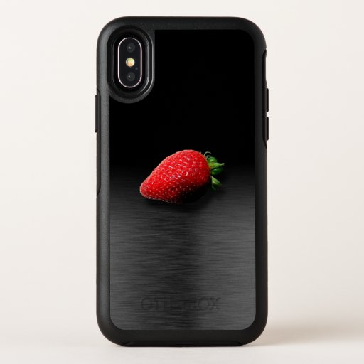 Strawberry on Black & Silver Metallic OtterBox Symmetry iPhone X Case