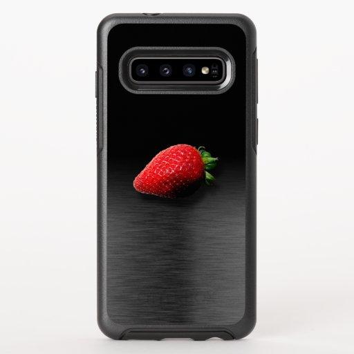 Strawberry on Black & Silver Metallic OtterBox Symmetry Samsung Galaxy S10 Case