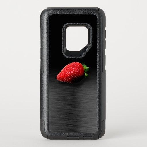 Strawberry on Black & Silver Metallic OtterBox Commuter Samsung Galaxy S9 Case