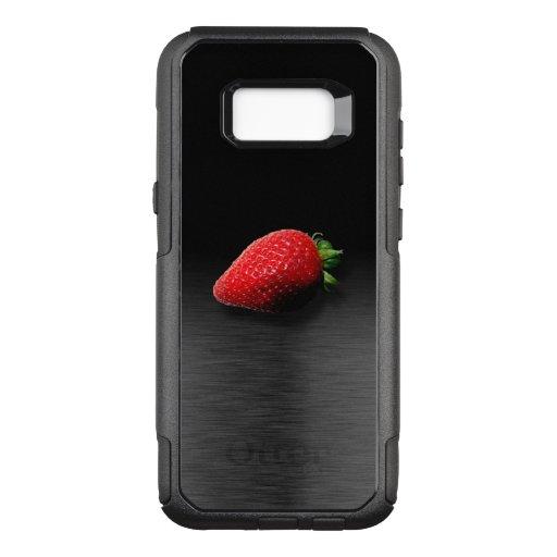 Strawberry on Black & Silver Metallic OtterBox Commuter Samsung Galaxy S8  Case