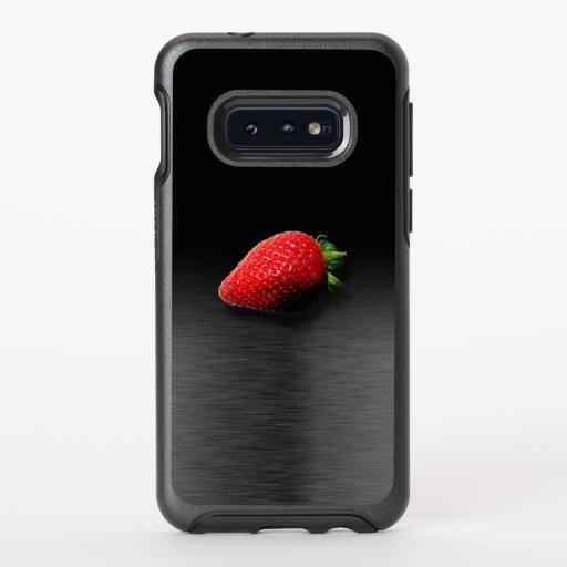 Strawberry on Black & Silver Metallic OtterBox Symmetry Samsung Galaxy S10e Case