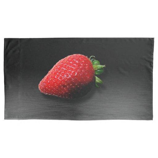 Strawberry on Black & Silver Metallic Pillow Case