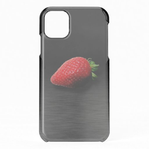 Strawberry on Black & Silver Metallic iPhone 11 Case