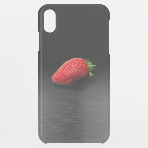 Strawberry on Black & Silver Metallic iPhone XS Max Case