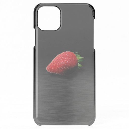 Strawberry on Black & Silver Metallic iPhone 11 Pro Max Case