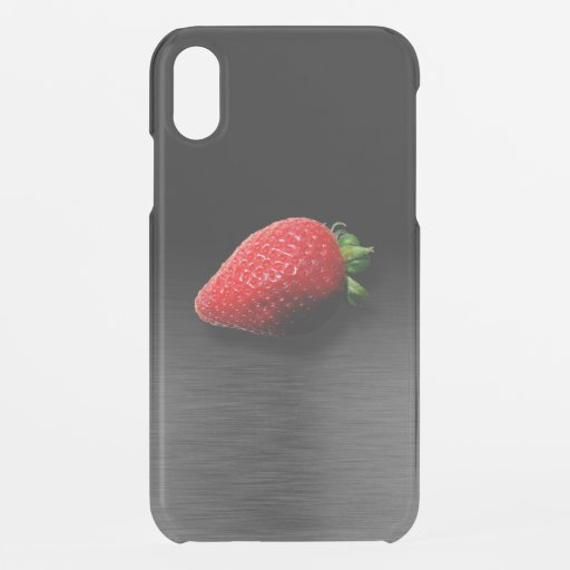 Strawberry on Black & Silver Metallic iPhone XR Case