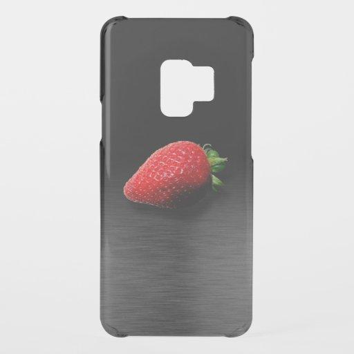 Strawberry on Black & Silver Metallic Uncommon Samsung Galaxy S9 Case