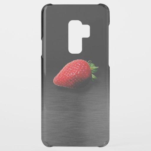 Strawberry on Black & Silver Metallic Uncommon Samsung Galaxy S9 Plus Case