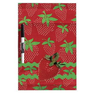 Strawberry on Green Ric Rac, Strawberries Dry-Erase Board