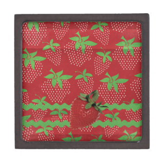 Strawberry on Green Ric Rac, Strawberries Jewelry Box