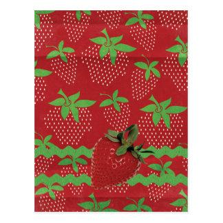 Strawberry on Green Ric Rac, Strawberries Postcard