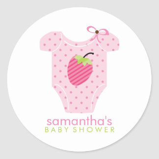 Strawberry Outfit Girl Baby Shower Classic Round Sticker
