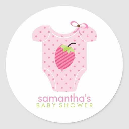 Strawberry Outfit Girl Baby Shower Round Stickers