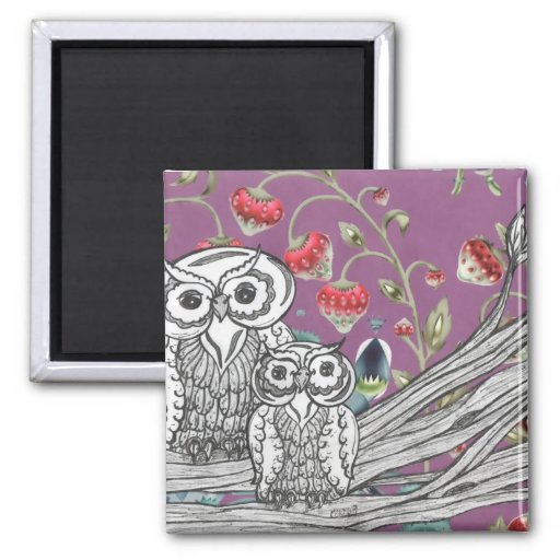 Strawberry Owls 2 Inch Square Magnet