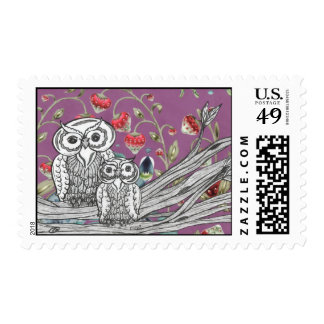 Strawberry Owls Postage Stamp