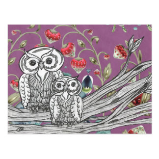 Strawberry Owls Postcard