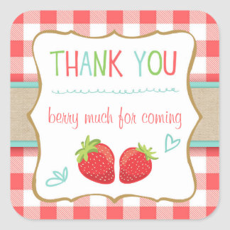 Strawberry Party Favor Tags Thank You Sticker