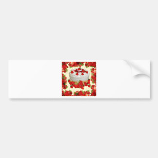 STRAWBERRY PASTRY CAKE  PARTY DESSERT BUMPER STICKER