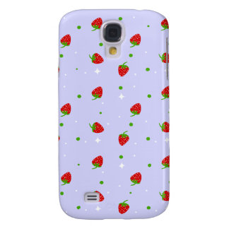 Strawberry Pattern lilac background Samsung Galaxy S4 Case