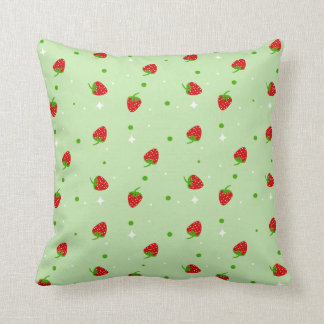 Strawberry pattern on green background throw pillow