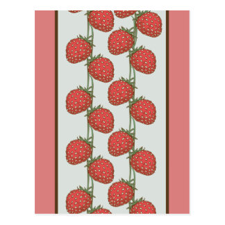 Strawberry Pattern Postcard