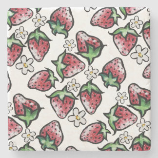 Strawberry pattern strawberries forever stone coaster