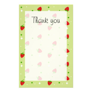 Strawberry pattern Thank you paper Stationery Design