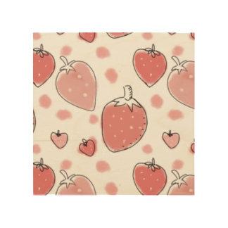 Strawberry Pattern Wood Print