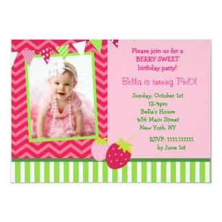 "Strawberry Photo Birthday Party Invitations 5"" X 7"" Invitation Card"