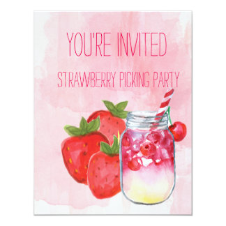 Strawberry Picking Party Invitation