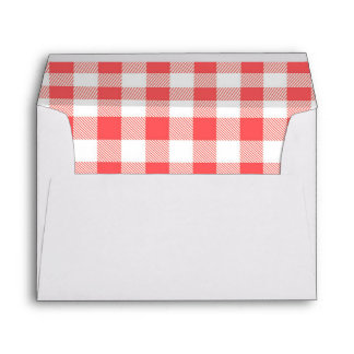 Strawberry Picnic red white checkered Envelope