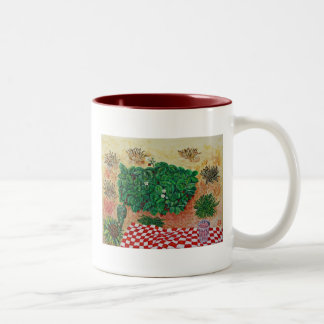 Strawberry Picnic with Little Doubt Two-Tone Coffee Mug
