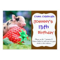strawberry pig invitation