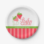 Strawberry Pink and Green Baby Shower Paper Plate