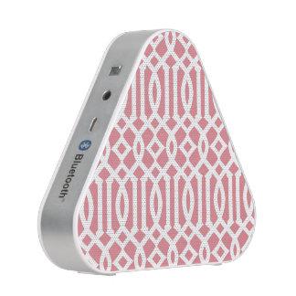 Strawberry Pink and White Modern Trellis Pattern Speaker